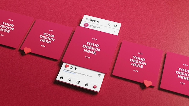 Mídia social postar maquete na interface 3d do instagram