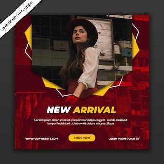 Mídia social postar modelo banner novo estilo moda garota