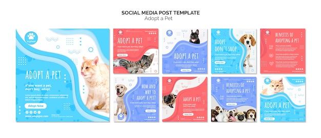 Mídia social postar modelo com adotar animal de estimação