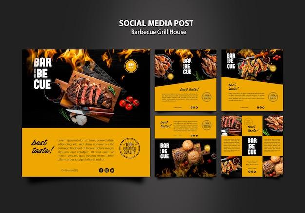 Mídia social postar modelo com churrasco