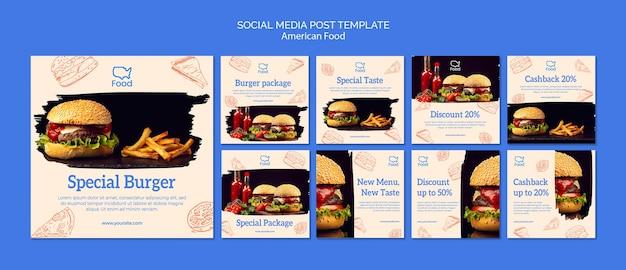 Mídia social postar modelo com comida americana