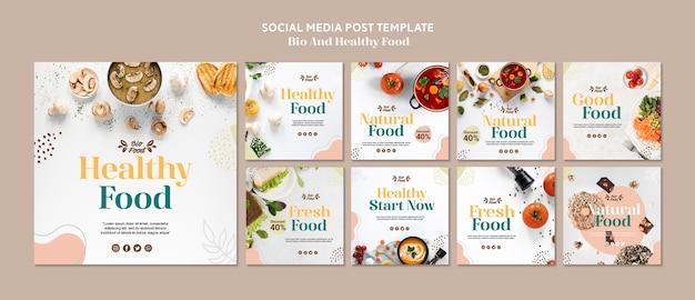 Mídia social postar modelo com comida saudável