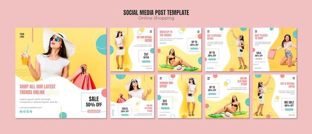 Mídia social postar modelo com compras on-line