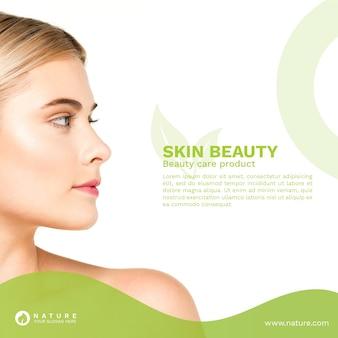 Mídia social postar modelo com conceito de beleza