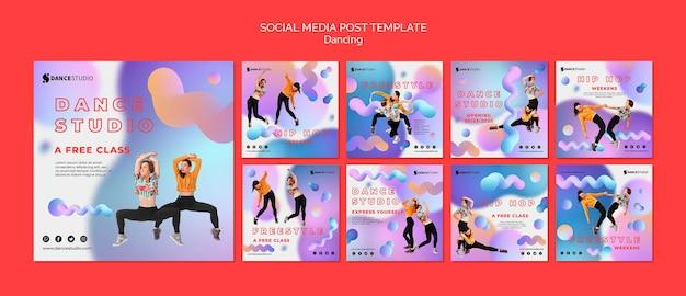 Mídia social postar modelo com dança