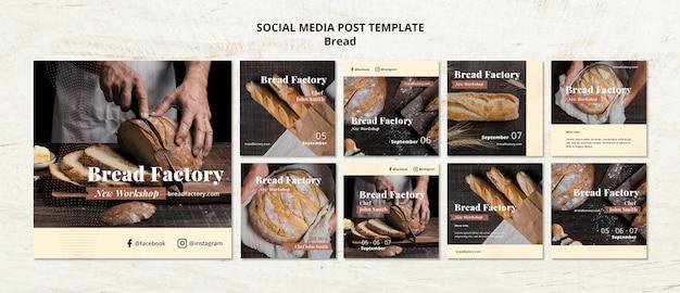 Mídia social postar modelo com pão