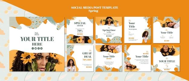 Mídia social postar modelo com venda de primavera