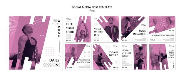 Mídia social postar modelo com yoga