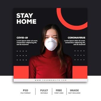 Mídia social postar modelo de banner menina coronavírus usando máscara