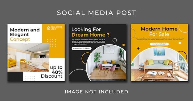 Mídia social postar móveis modernos para conjunto doméstico