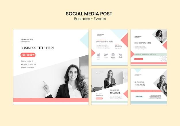 Mídia social postar pacote de negócios