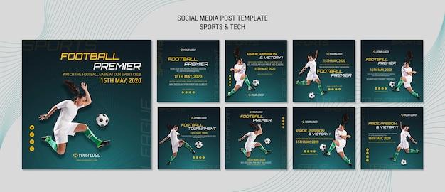 Mídia social postar tema com esporte e tecnologia