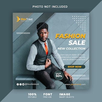 Mídia social promocional de venda de moda postar modelo de banner quadrado