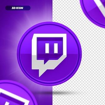 Mídia social twitch tv 3d render ícone isolado