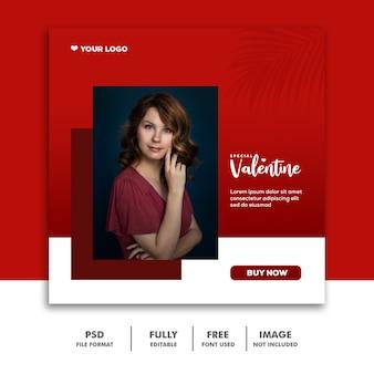 Mídia social valentine template instagram, moda