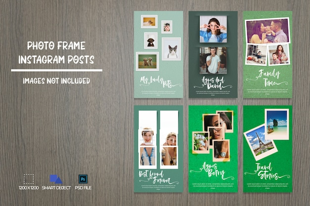 Mídias sociais photo frame instagram stories bundle