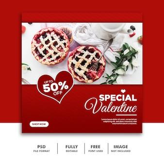 Mídias sociais post instagram valentine banner, food red