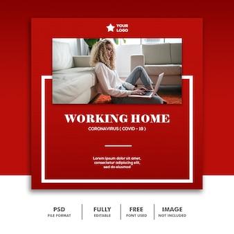 Mídias sociais postam banner instagram modelo coronavirus trabalhando em casa