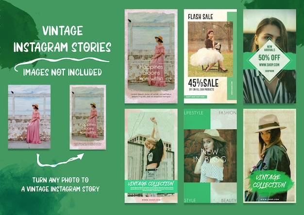 Mídias sociais vintage instagram stories bundle