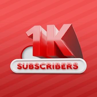 Mil assinantes de canal do youtube 3d