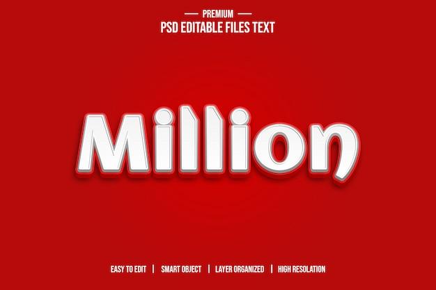 Milhões de efeitos de estilo de texto 3d