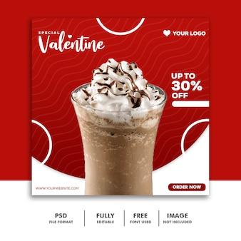 Milk-shake chocolate vermelho mídias sociais instagram post valentine