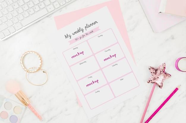 Minha agenda semanal de uma garota