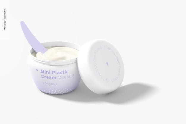 Mini pote de creme de plástico com tampa maquete, aberto