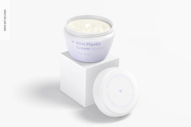 Mini pote de creme de plástico com tampa maquete