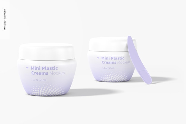 Mini potes de creme de plástico com tampa maquete