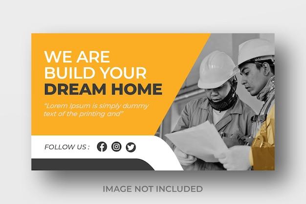 Miniatura de vídeo do youtube para empresas de construção ou design de banner