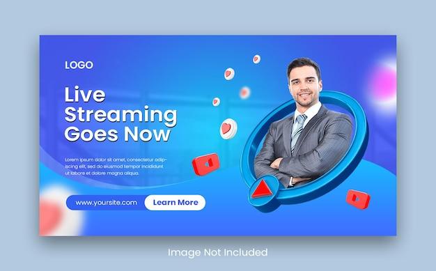 Miniatura de webinar on-line ao vivo no youtube ou modelo de banner