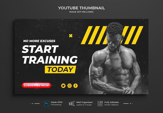 Miniatura do canal do youtube e modelo de banner da web para tonificação muscular e exercícios físicos