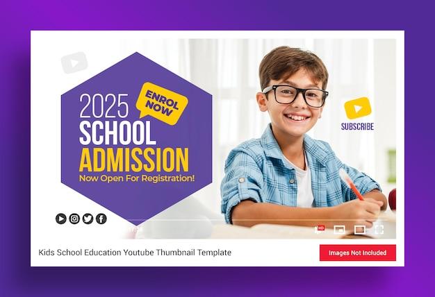 Miniatura do canal do youtube para admissão na educação escolar e modelo de banner