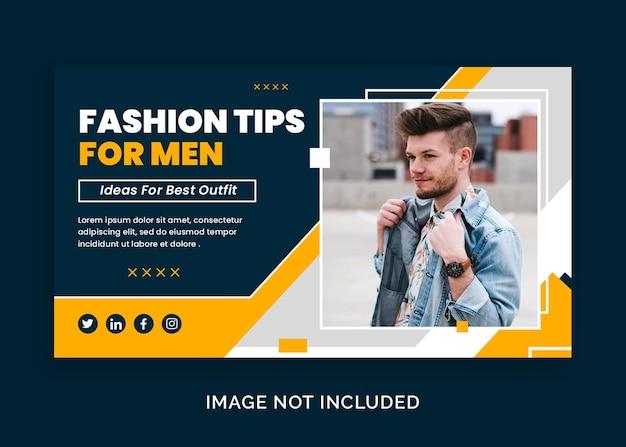 Miniatura do webinar do youtube ou modelo de banner da web com dicas de moda masculina