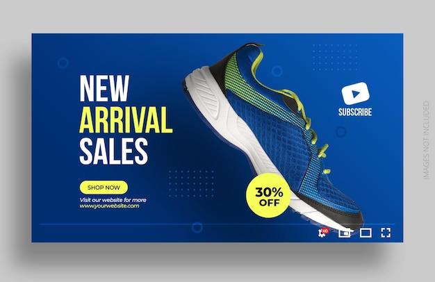 Miniatura do youtube ou modelo de banner da web para venda de sapatos de produto