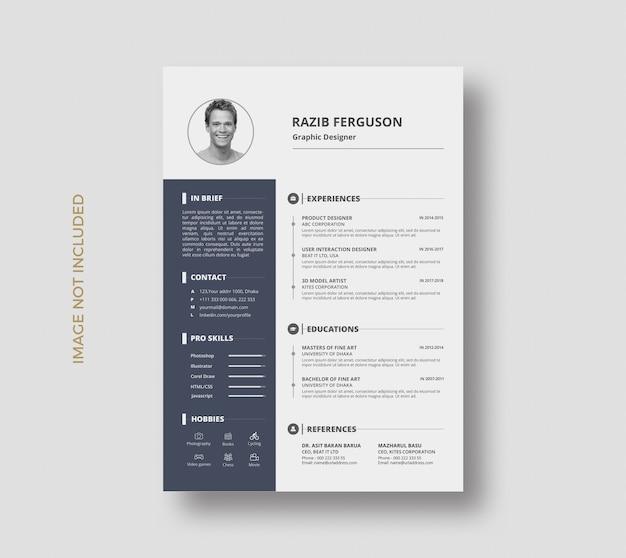Minimal creative currículo curriculum vitae template design