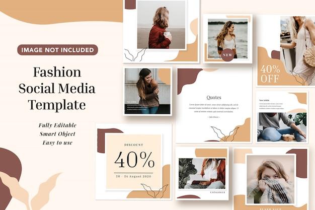 Minimalismo moda estilo mel marrom cor mídia social banner instagram modelos