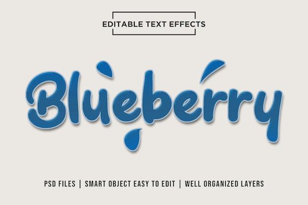 Mirtilo - efeitos de texto psd saborosos e doces