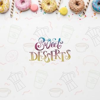 Mistura de donuts coloridos e palitos de wafer com maquete