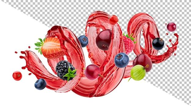 Mistura de frutas frescas com respingo de suco de frutas vermelhas