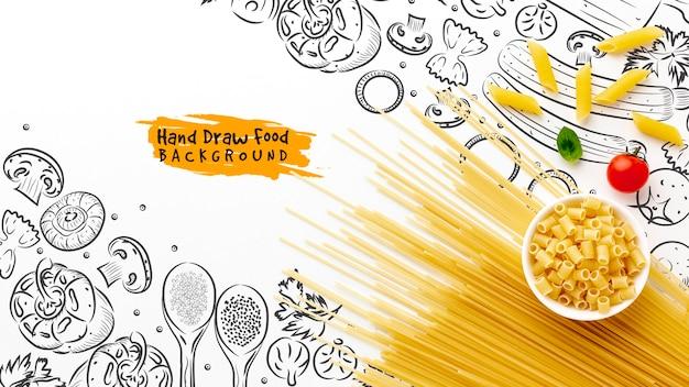 Mistura de macarrão cru plana leigos e tomates na mão desenhada fundo