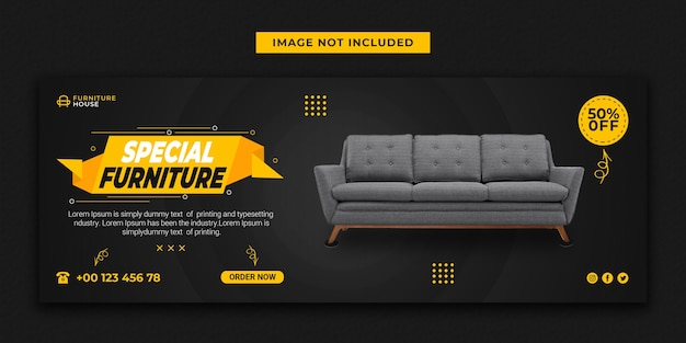 Mobiliário especial para capa do facebook e design de modelo de banner de mídia social
