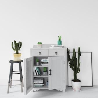 Mobiliário moderno de design de interiores com plantas