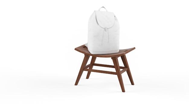 Mochila branca na cadeira de madeira isolada