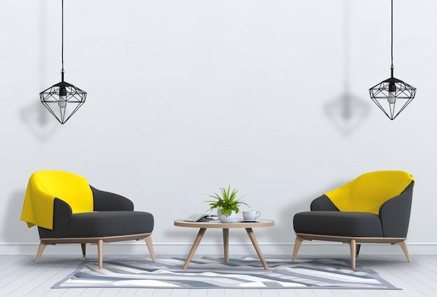 Mock-se moldura de cartaz na sala de estar interior e poltrona