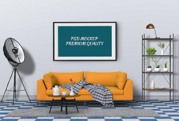 Mock-se moldura de cartaz na sala interior e sofá, render 3d
