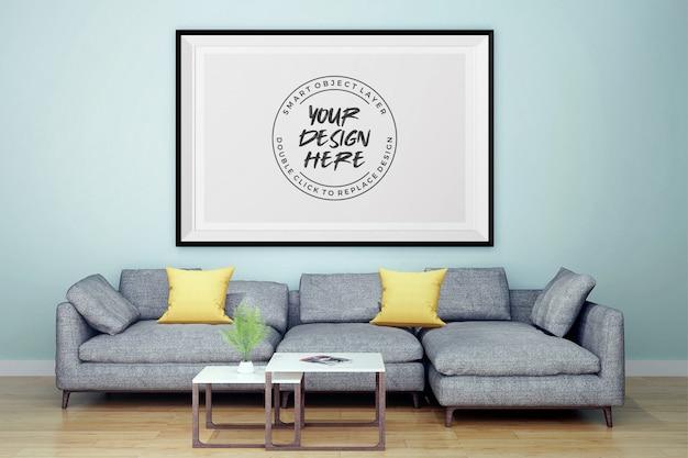Mock-se moldura interior sala de estar