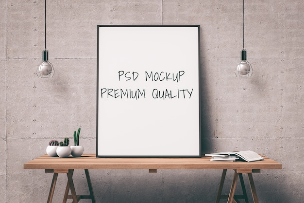 Mock-se quadro de cartaz na sala de estar interior de mesa. 3d render