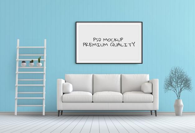 Mock-se quadro de cartaz na sala interior, render 3d